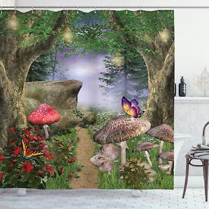 details about enchanted nature pathway butterflies fairytale landscape rocks shower curtain