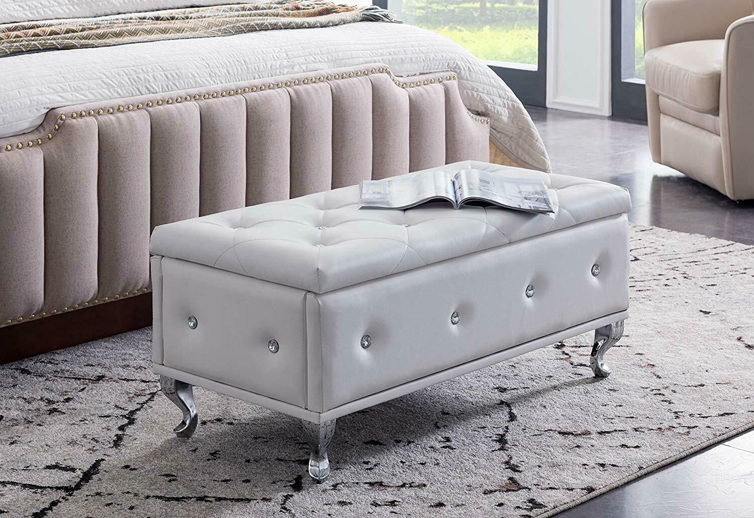 kings brand furniture tufted design white upholstered storage bench ottoman
