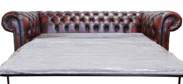 chesterfield sofa bed marco gray chaise by factory outlet 3 seater antique leather white ebay new oxblood red settee