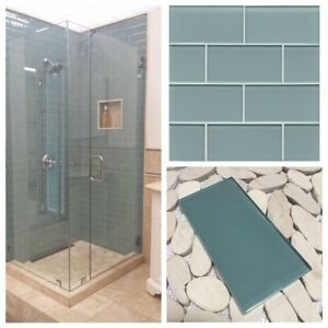 details about 3 x6 sea blue crystal glass subway tile for kitchen bathroom shower spa wall