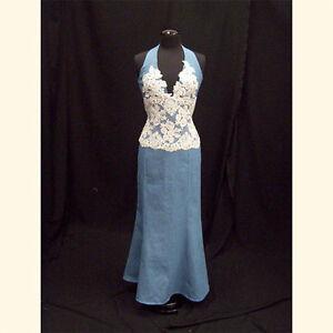 Denim and Lace Western Halter Corset and Skirt Western Wedding 2Piece  eBay