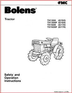 BOLENS G152 G154 G172 G174 TRACTOR OWNER OPERATORS