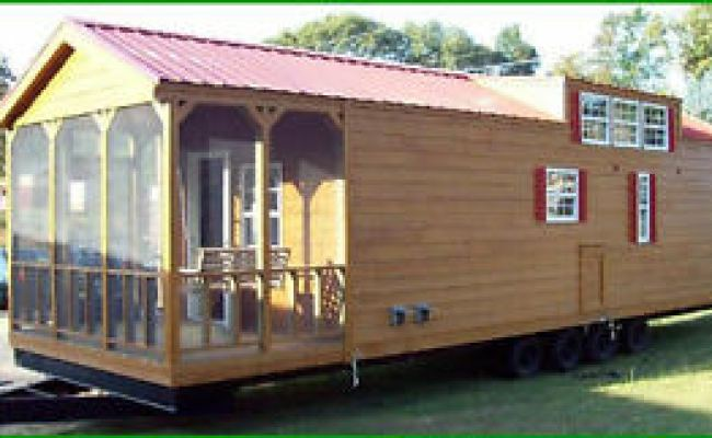 2017 12x40 Rustic Cabin Park Model Mobile Tiny Home Porch
