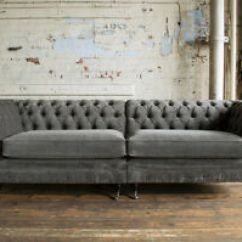 Large Sofa Couch Low Seating Bed Handmade Split 4 Seater Slate Grey Velvet Chesterfield Image Is Loading