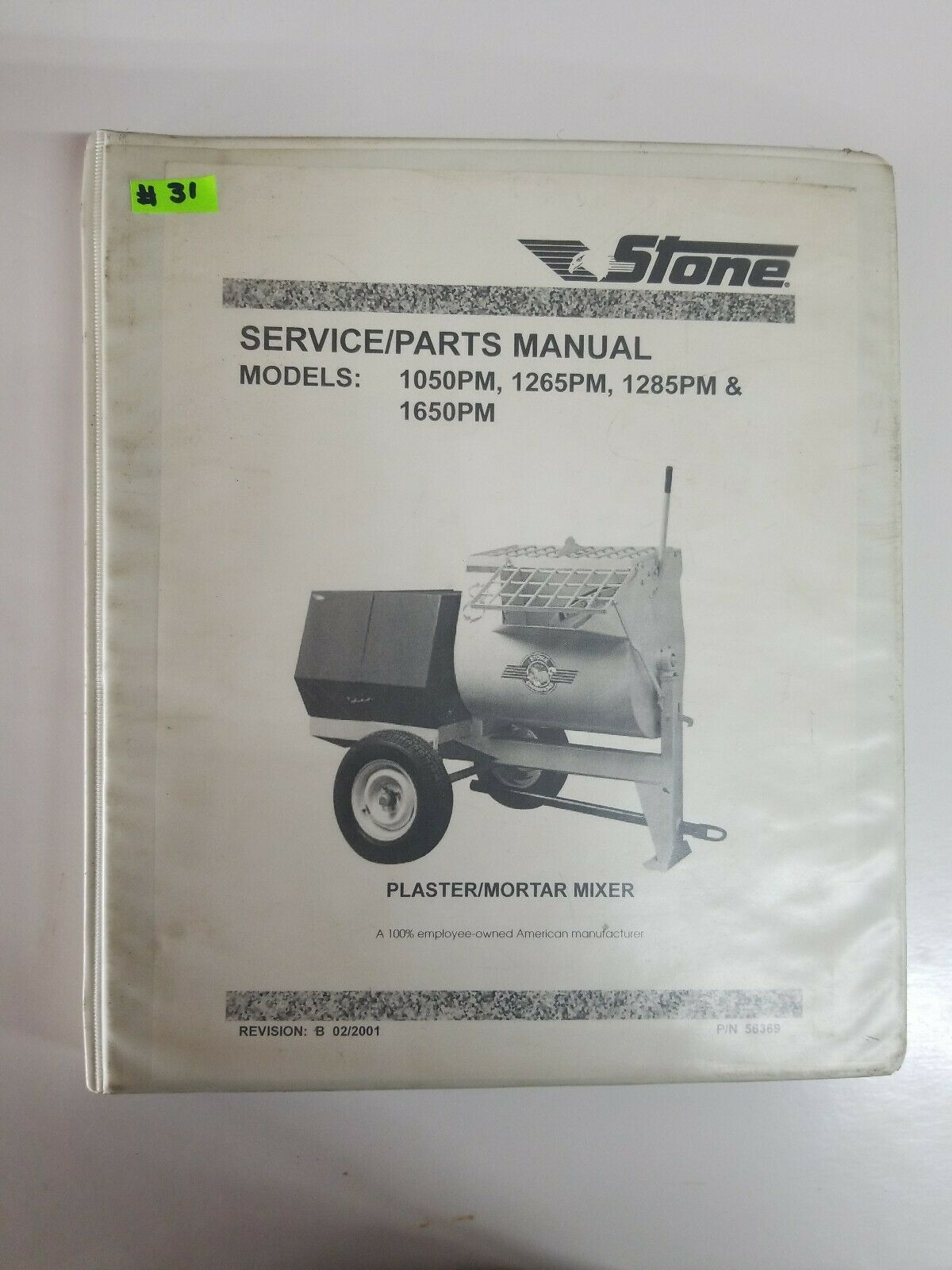 Stone Mixer Parts : stone, mixer, parts, Stone, 465PM, 655PM, 655PMP, 755PM, 855PM, Service/parts, Owners, Manual