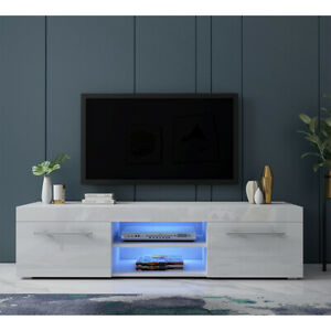 details about fancy 135cm tv unit cabinet stand matt body and high gloss drawers free led