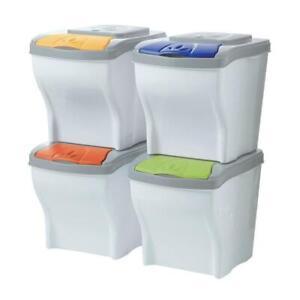 details sur poubelle tri recyclage 4 compartiments 80l selectif e ecologique moderne cuisine