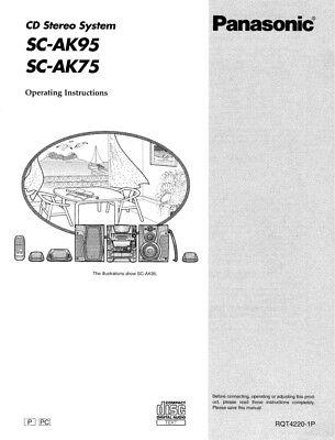 Panasonic SA-AK75 SA-AK95 CD Stereo System Owners