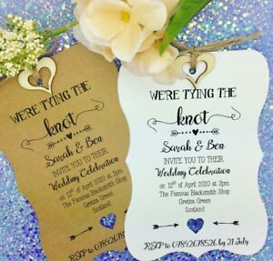 Details About Tying The Knot Rustic Wedding Invitation Vintage Rsvp