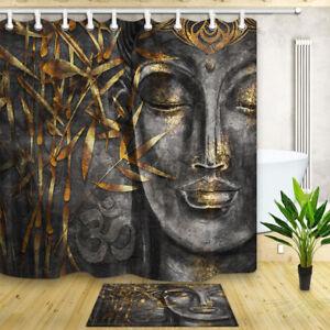 details about buddha bath curtains buddha statue bathroom set waterproof fabric shower curtain