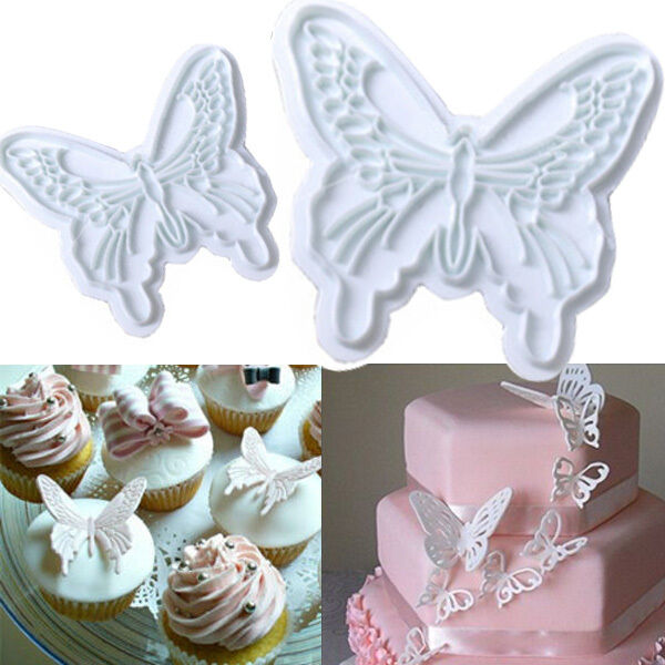2x Butterfly Wedding Cake Fondant Decorating Sugar Craft Cookie