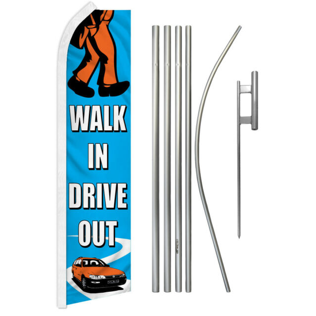 Walk in Drive Out Swooper Flutter Feather Advertising Flag Kit Car Dealership | eBay