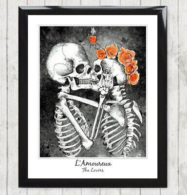 framed art print l amoureux the lovers skull skeleton tarot card poster 137 ebay
