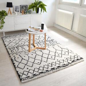 details sur tapis salon a motif berbere dharan clair blanc noir tendance sejour chambre