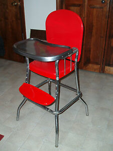 stool chair red dutch design youtube vintage cosco metal chrome high w/ vinyl seat - newly painted! | ebay
