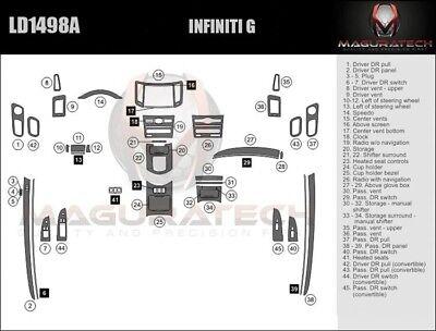 Fits Infiniti G37 2DR 2008-2009 Large Premium Wood Dash
