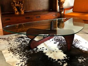 details about noguchi style coffee table with boomerang shaped glass top