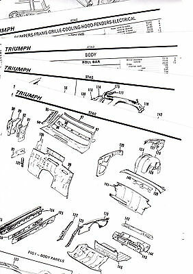 1971 1972 1973 TRIUMPH STAG 71 72 73 BODY PARTS LIST CRASH