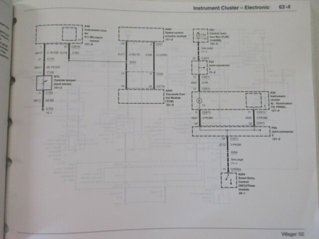 2002 FORD MERCURY VILLAGER ELECTRICAL WIRING DIAGRAMS