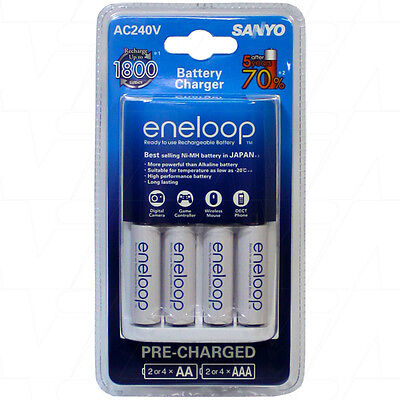 Sanyo eneloop AA AAA Battery Charger With 4 AA eneloop Batteries 4994334291202   eBay
