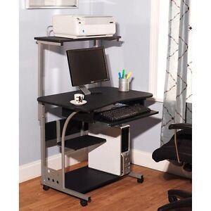 Computer Desk w Printer Shelf Stand Home Office Rolling