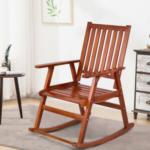 wooden rocking chairs for adults indoor kids camp chair wood single porch rocker outdoor patio image is loading