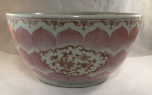 ANTIQUE LARGE CHINESE EXPORT PORCELAIN PINK LOTUS DECORATED PUNCH BOWL HEAVY