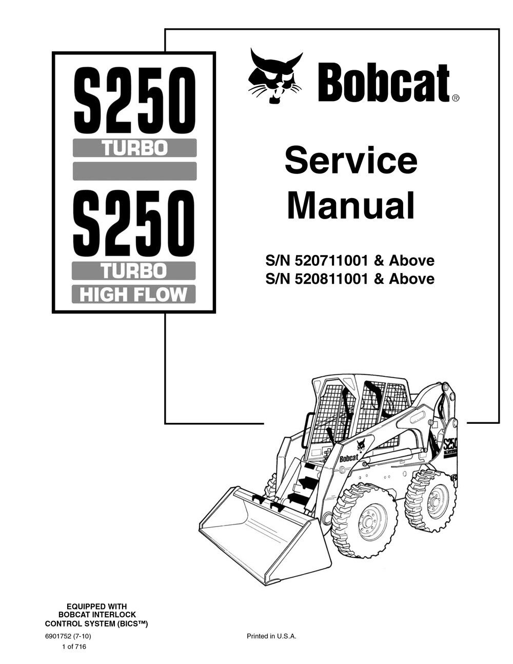 Bobcat S250 Turbo High Flow New and 2010 Edition Repair