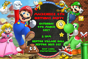 details about personalised super mario bros birthday party invites inc envelopes