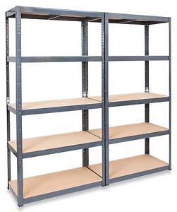 details sur paquet de 2 garage etagere rack resistant gris sans boulons rangement atelier