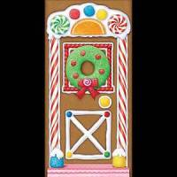 Holiday GINGERBREAD HOUSE DOOR COVER POSTER BACKDROP