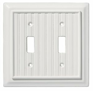 126359 White Beadboard Wood Architect Double Switch Cover
