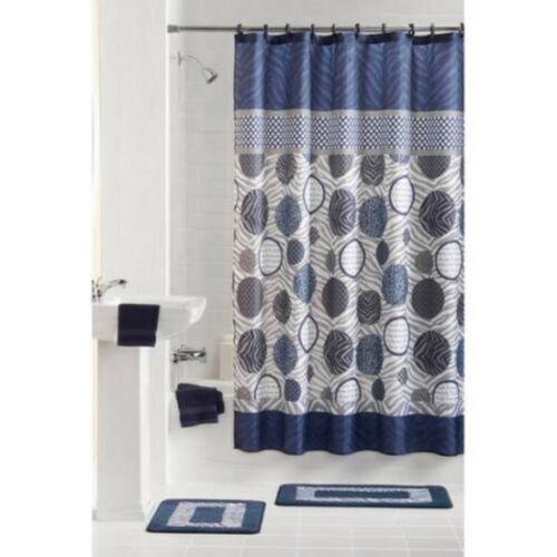 mainstays bathroom set shower curtain rings rugs 15 pieces bath accessory sets uniforce home garden