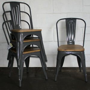 industrial dining chair kids play table and chairs set of 4 graphite grey metal kitchen bistro image is loading