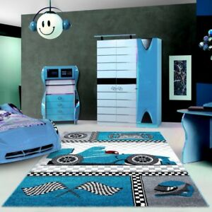 Boys Car Rug Blue Grey White Kids Bedroom Carpet Small Large Childrens Car Mats Ebay