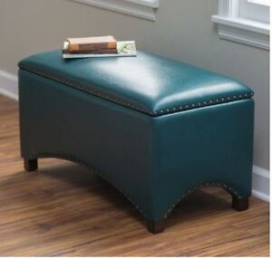 Leather Storage Bench Bedroom Ottoman Upholstered Entryway
