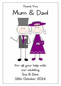 Thank You Card For Parents : thank, parents, THANK, PARENTS, PERSONALISED, WEDDING, SPECIAL, MULTI