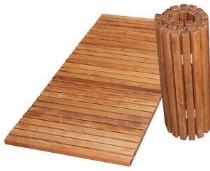 details sur large pliable tapis de bain bambou en bois a lattes canard bord antiderapant douche salle de bain afficher le titre d origine