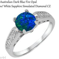 Australian Dark Blue Fire Opal Wedding Engagement Genuine ...