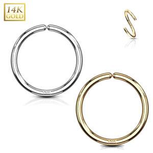 Echt Gold 585 14 Karat Piercing Ring Hoop Septum Helix Tragus Nase Ohr