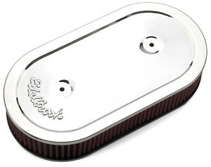 Edelbrock 1236 Pro-Flo Chrome Oval Air Cleaner Filter For