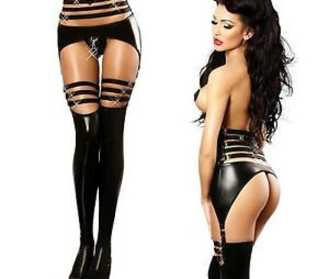 Image Is Loading Sexy Latex Faux Leather Restraints Tight Jumpsuits Lingerie