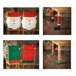 Chair Cover Christmas Decorations Dining Chairs With Rollers Decoration Elf Santa Leg Covers Table Xmas Image Is Loading