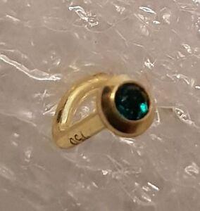 Gold 750 Nasenpiercing, 2,5 mm mit Kristallstein grün Nasenstecker Spirale