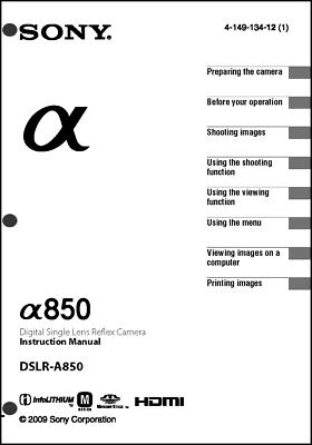 Sony DSLR Alpha A850 Digital Camera User Guide Instruction