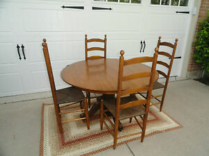troutman chair company fisher price deluxe space saver high antique oak round pedestal table 50 ladderback chairs 034