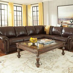 Large Sofa Couch Wood Legs Sale Old World Formal Living Room Brown Leather Sectional Image Is Loading