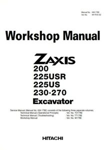 HITACHI ZAXIS 200 225USR 225US 230 270 EXCAVATOR WORKSHOP