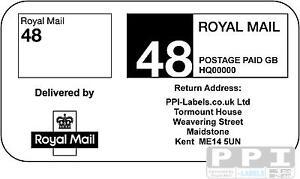 1000 ROYAL MAIL 48 PPI Labels Stamps, Return Address