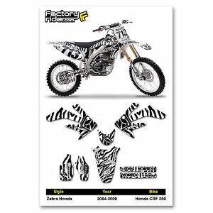 2004-2009 HONDA CRF 250 Zebra Motocross Graphics Dirt Bike